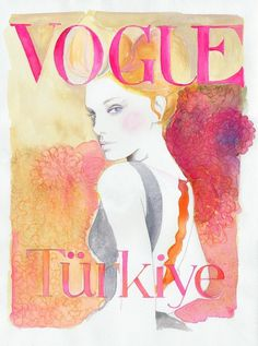 vogue turkiye #vogue #cover #illustration #fashion #watercolor #magazine