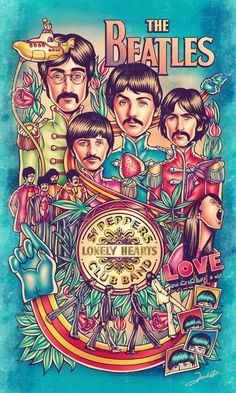 The Beatles #the beatles #poster #illustration #music #rock and roll #psychadelic