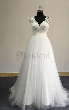 A-Line Klassisches Schlüsselloch Rücken Sweep Zug V-Ausschnitt Brautkleid