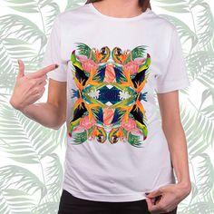 Tropic Kaleidoscopic #tropic #print #exotic #bird #flower #palm