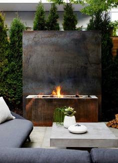 fireplace, terrace, outdoor living, Ancerl Studio