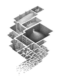 Labyrinthine Drawings of Interconnected Rooms by Mathew Borrett #borrett #labyrinth #mathew #architecture #drawing