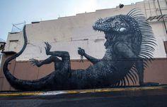 Roa #mural #lizard #frog