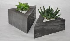 Concrete triangle planters