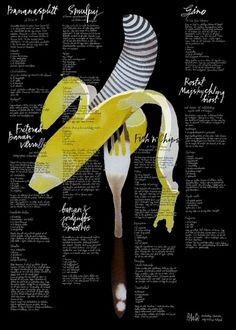 PACO-002.jpg (984×1378) #banana #handwriting #bartling #sebastian #bacigalupe #litograph #moa #fork