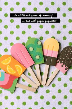 DIY Paper Popsicle Memory Game » Eat Drink Chic #memory #poptick #cream #print #diy #ice #game #paper