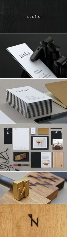 Leong Furniture #interior #white #stationery #letterpress #black #simple #furniture #identity #and #logo