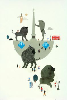 Veronique Joffre, colagene.com The Colossus selected for 2014 Serco Prize for Illustration and exhibited at the London Transport Museum #london #city #lion #paper #illustration #animal #jungle #england