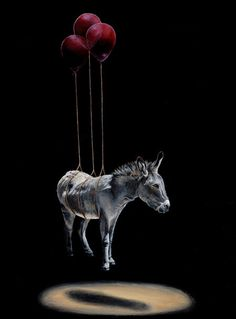 Jacub Gagnon with donkey animal art #surrealism #realism #painting #paintings #art #animal