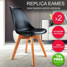 2 x Padded Retro Replica Eames Eiffel DSW Dining Chairs Cafe Kitchen Black-buy-now-cheap-price-australia-30