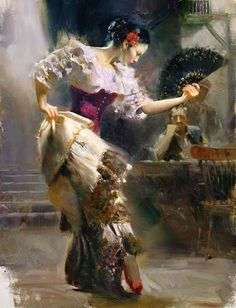 pino daeni paintings #passion #spain #dance #flamenco #spanish #illustration #painting #oil #fan #beauty