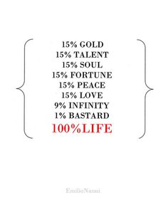 100%life- emilio nanni,2005 #quotes #grafphics #emilionanni #graphics #life