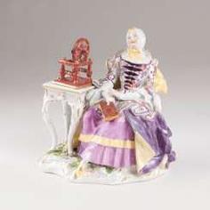 Rare porcelain figure of 'the house of woman with spinning wheel'. Johann Joachim Kaendler #Sets #Teasets #Porcelainsets #Antiqueplates #Plates #Wallplates #Figures #Porcelainfigurines #porcelain