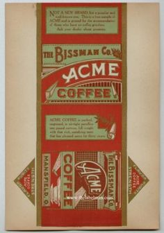 ACME Vintage Mansfield Ohio Coffee Box Label #label