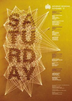 Ministry of sound _D&AD Brief on the Behance Network #string #yellow #photography #handmade #typography