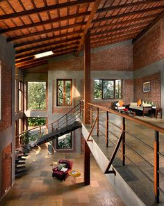 Indian Brick House with an Architectural Design Influenced by a Mango Trees Plantation 8