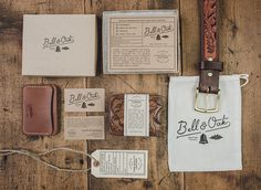 Bell & Oak | Two Arms Inc. #print #kraft #vintage #leather #stationery