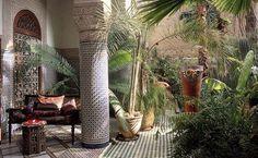 Dreamy Boutique Hotel Riad Enija in Marrekech, Morocco. #interior #pattern #greens