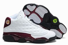 """Chicago Bulls"" - Retro Jordan 13 White Print & Red Basketball Sneaker Mens #shoes"