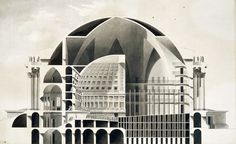 Étienne-Louis Boullée The Temple of Death — DOP #drafting #architecture #fantasy #drawing