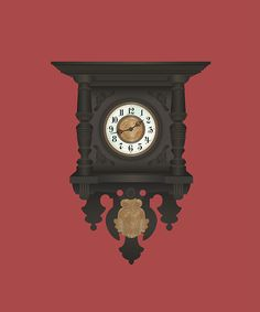 Grandmother's clock illustration. jacquelombardo.com #design #graphic #digital #illustration #vintage #art #clock