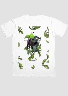 T-shirt Tiger. KFKS #tshirt #green #design #illustration #plants #tropical #wear #white #girl