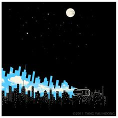 Skyline #negative #illustration #tangyauhoong #space