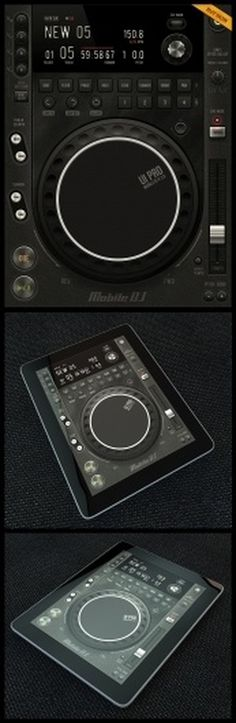 Tablet/Phone User Interface Professional Set V. 5 Mobile DJ - Mobile Interface - Creattica #diegomonzon #player #texture #leather #music #metal