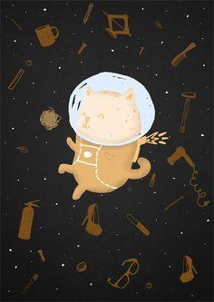 Astrocat. Digital Art, Illustration
