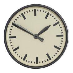 Mavis Black Metal Round Wall Clock, 33 cm D