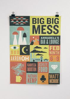 Big Big Mess Poster #print #illustration #poster #type #typography