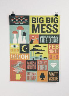 Big Big Mess Poster #print #illustration #poster #type #typography