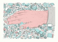 jgh_studiohand_color_a5_print_web #promotion #direct #self #hand #illustration #mail #stools #made #postcard #drawing