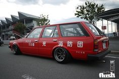 Fire Truck.. Save me. | Fatlace™ Since 1999 #toyota #wagon #red #hellaflush
