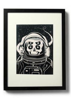 ASTRONAUT,-,Original,relief.,Hand,Printed,Linocut, Rocco Malatesta, Illustrator, Poster, Movie Poster, fine art print, archival ink, archiva #alien #ink #skeleton #white #astronaut #print #horror #fi #sci #space #black #illustration #poster #and #skull