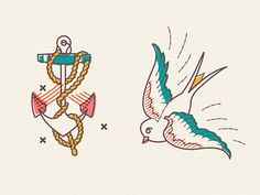 Lines & Ink #ink #lines #icon #bird #swallow #tattoo #illustration #art #anchor