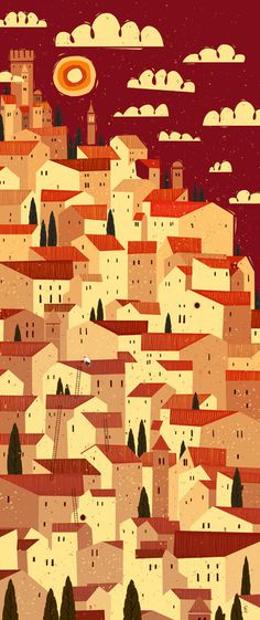The Tiler- Peter Donnelly #city #illustration #tuscany #italy