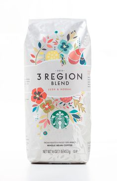 Starbucks 3 Region Blend The Dieline #packaging #starbucks #coffee #flowers