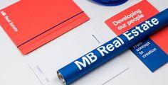 mb real estate market construction business card blue red logo logotype branding corporate design identity mindsparklemag design