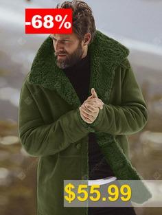 Winter #Solid #Color #Men #Coat #Warm #Wool #Wide-waisted #Long #Overcoat #- #SEAWEED #GREEN
