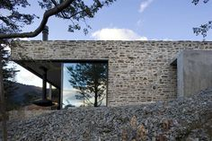Mountain Retreat Heavily Rendered Stone #architecture #green #trees #interiors #landscapes #houses #fireplaces