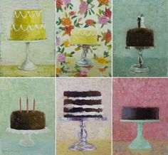 cakes.png 600×556 pixels #cake #illustration #painting
