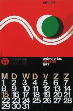 ibou_taxi_calendar.jpg 709×1,082 pixels #paul #ibou #design #graphic #belgium #vintage #typography