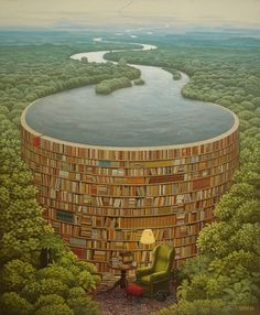 Jacek Yerka painting - Bible dam #canvas #dam #book #poster