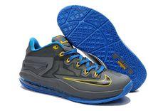 Nike Lebron 11 Zoom Xi Mens Online Outlet Dark Brown Blue
