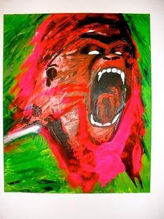 tumblr_m3ggwbwUpg1r67bzeo1_1280.jpg 1.280×1.707 píxeles #acrylic #tumblr #red #ape #crollan #illustration #gorilla #com #green