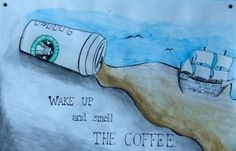 five red balloons #wake #up #coffee #watercolor #spill