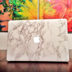 White Marble Laptop Decal for MacBook #tech #flow #gadget #gift #ideas #cool