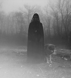 A Guardian #white #woman #fog #black #photography #wolf #and