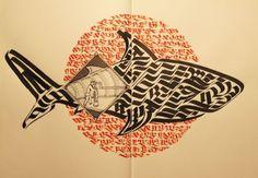 Domenico Romeo #calligraphy #submarine #seashark #shark